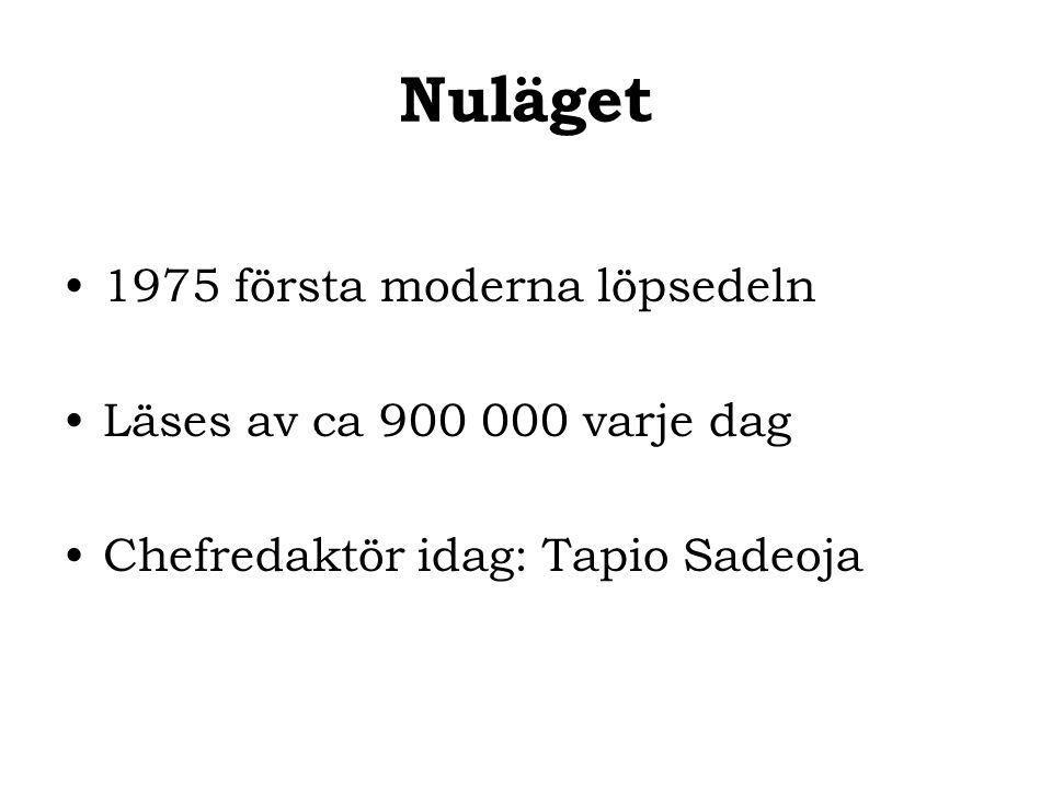 Nuläget 1975 första moderna löpsedeln Läses av ca 900 000 varje dag Chefredaktör idag: Tapio Sadeoja