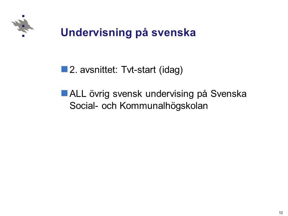 10 Undervisning på svenska 2. avsnittet: Tvt-start (idag) ALL övrig svensk undervising på Svenska Social- och Kommunalhögskolan