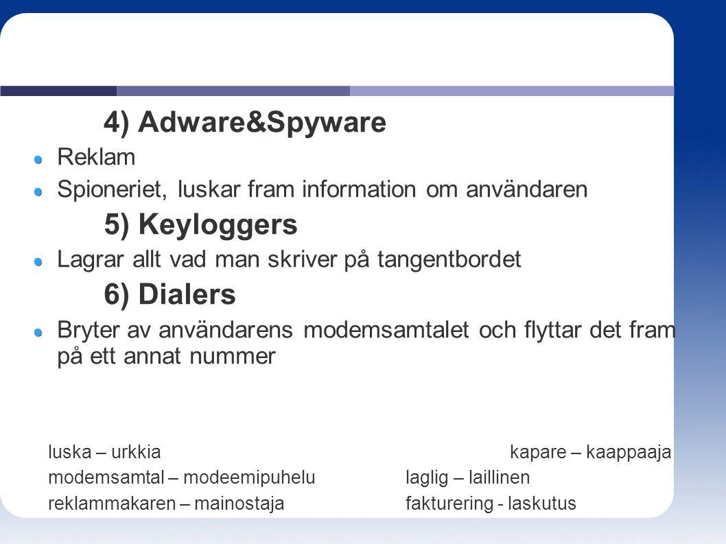 4) Adware&Spyware Reklam Spioneriet, luskar fram information om användaren 5) Keyloggers Lagrar allt vad man skriver på tangentbordet 6) Dialers Bryte