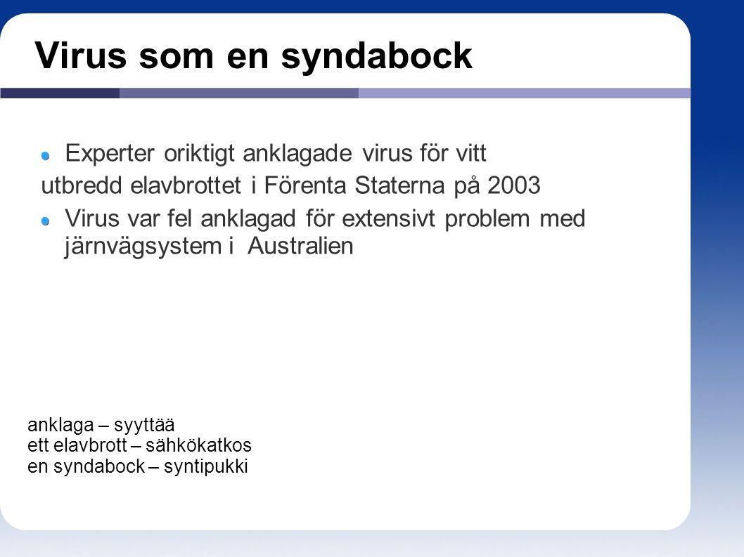 Virus som en syndabock Experter oriktigt anklagade virus för vitt utbredd elavbrottet i Förenta Staterna på 2003 Virus var fel anklagad för extensivt