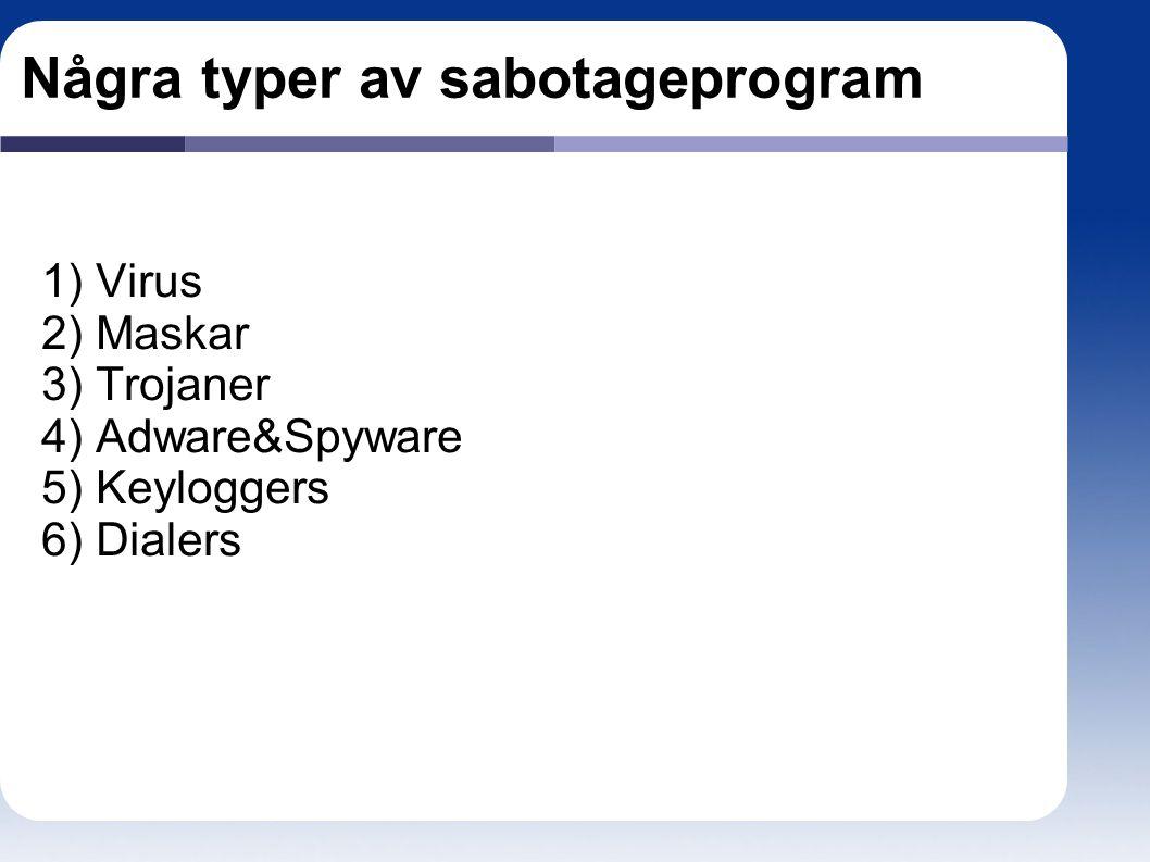 Några typer av sabotageprogram 1) Virus 2) Maskar 3) Trojaner 4) Adware&Spyware 5) Keyloggers 6) Dialers