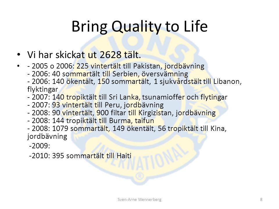 Bring Quality to Life Vi har skickat ut 2628 tält. - 2005 o 2006: 225 vintertält till Pakistan, jordbävning - 2006: 40 sommartält till Serbien, översv