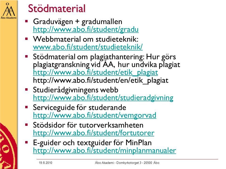 19.8.2010Åbo Akademi - Domkyrkotorget 3 - 20500 ÅboStödmaterial  Graduvägen + gradumallen http://www.abo.fi/student/gradu http://www.abo.fi/student/gradu  Webbmaterial om studieteknik: www.abo.fi/student/studieteknik/ www.abo.fi/student/studieteknik/  Stödmaterial om plagiathantering: Hur görs plagiatgranskning vid ÅA, hur undvika plagiat http://www.abo.fi/student/etik_plagiat http://www.abo.fi/student/en/etik_plagiat http://www.abo.fi/student/etik_plagiat  Studierådgivningens webb http://www.abo.fi/student/studieradgivning http://www.abo.fi/student/studieradgivning  Serviceguide för studerande http://www.abo.fi/student/vemgorvad http://www.abo.fi/student/vemgorvad  Stödsidor för tutorverksamheten http://www.abo.fi/student/fortutorer http://www.abo.fi/student/fortutorer  E-guider och textguider för MinPlan http://www.abo.fi/student/minplanmanualer http://www.abo.fi/student/minplanmanualer