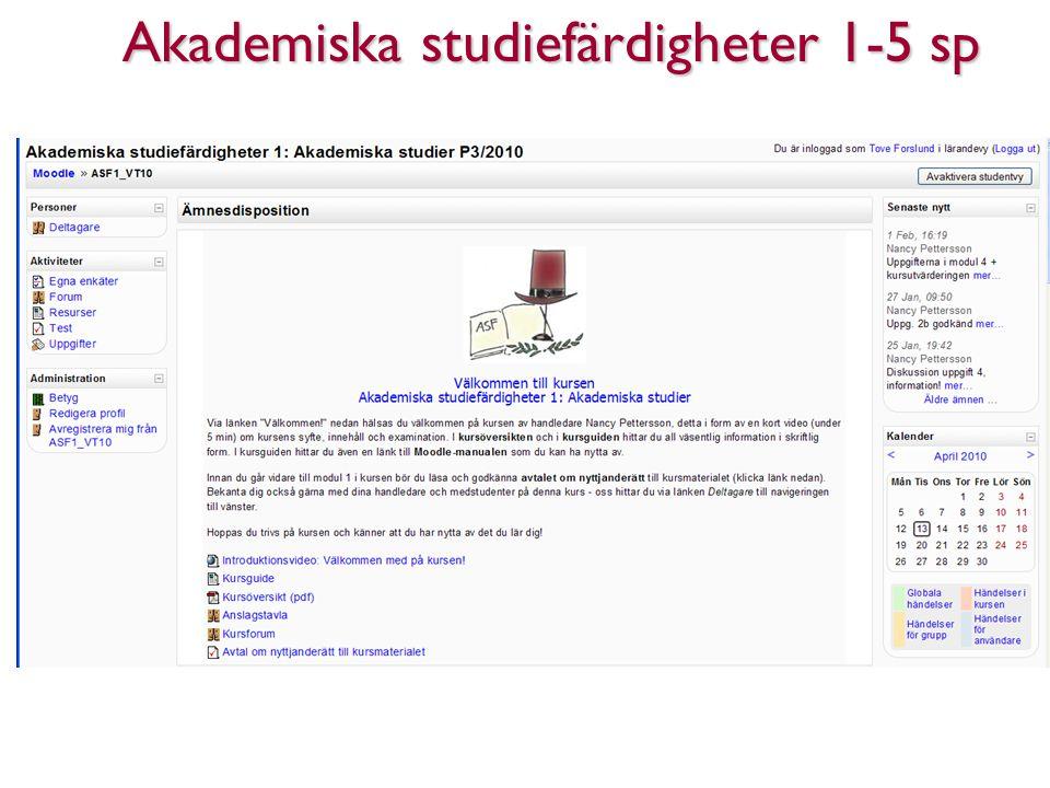 Akademiska studiefärdigheter 1-5 sp