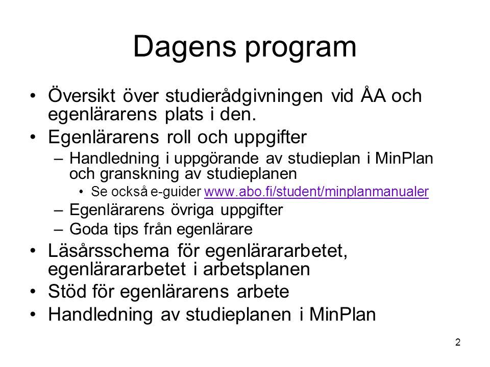 2 Dagens program Översikt över studierådgivningen vid ÅA och egenlärarens plats i den.