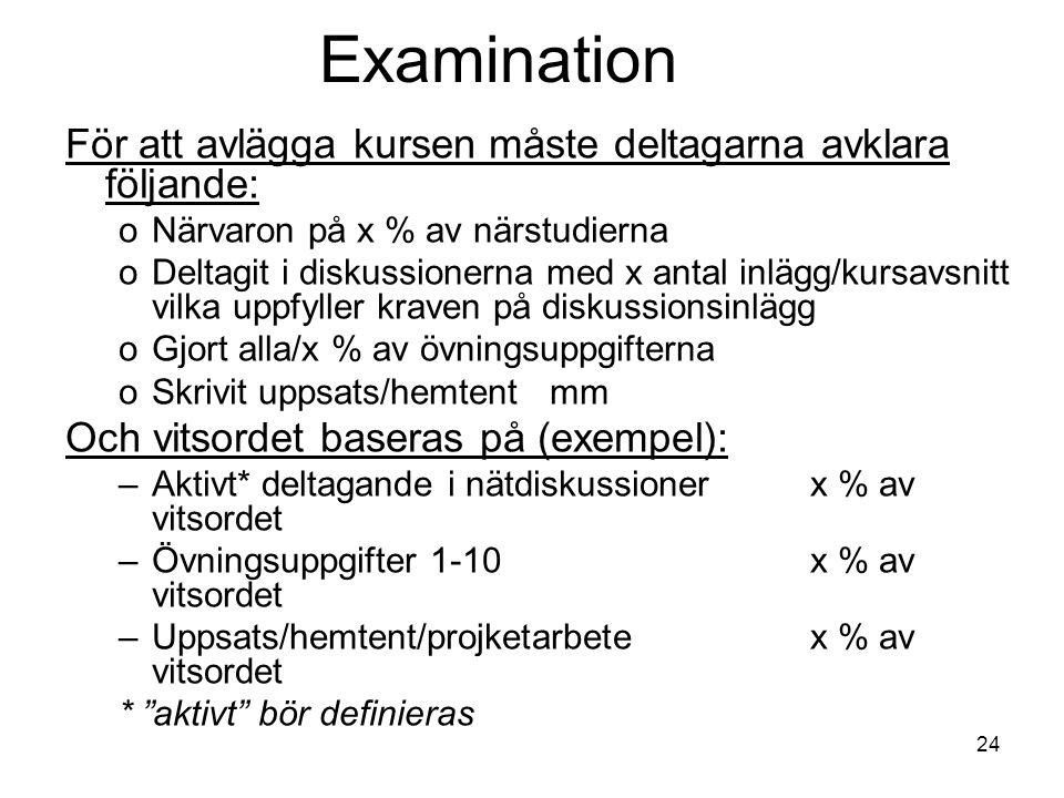 24 Examination För att avlägga kursen måste deltagarna avklara följande: oNärvaron på x % av närstudierna oDeltagit i diskussionerna med x antal inläg