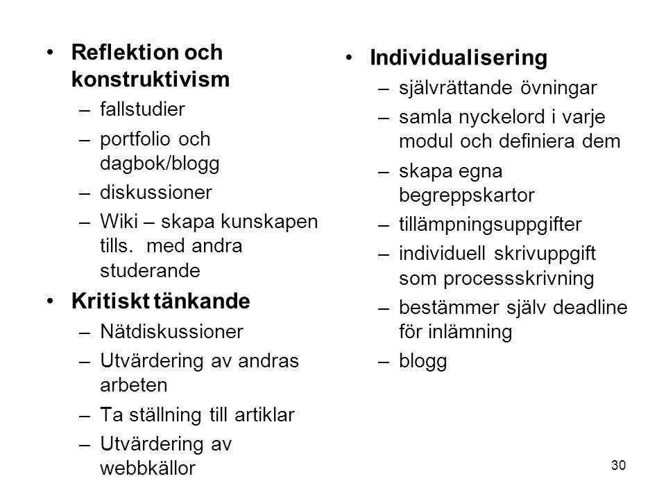 30 Reflektion och konstruktivism –fallstudier –portfolio och dagbok/blogg –diskussioner –Wiki – skapa kunskapen tills. med andra studerande Kritiskt t