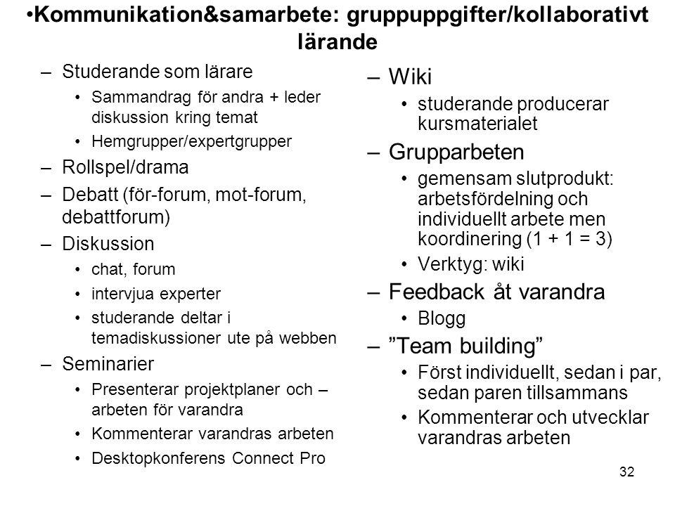 32 –Studerande som lärare Sammandrag för andra + leder diskussion kring temat Hemgrupper/expertgrupper –Rollspel/drama –Debatt (för-forum, mot-forum,