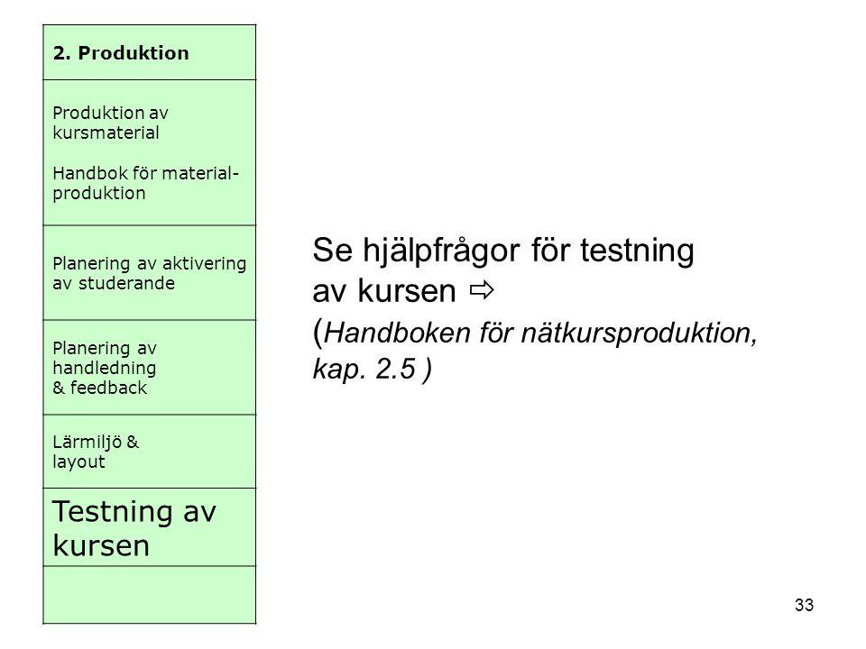 33 2. Produktion Produktion av kursmaterial Handbok för material- produktion Planering av aktivering av studerande Planering av handledning & feedback