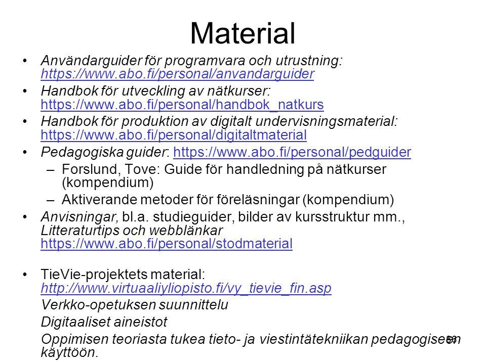 36 Material Användarguider för programvara och utrustning: https://www.abo.fi/personal/anvandarguider https://www.abo.fi/personal/anvandarguider Handb