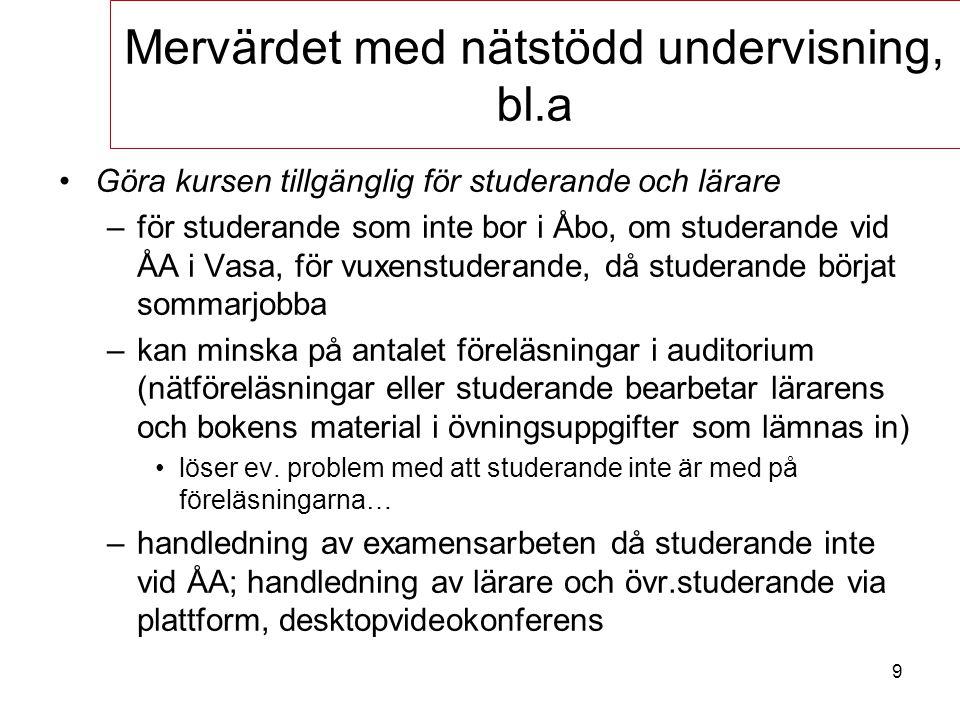 9 Göra kursen tillgänglig för studerande och lärare –för studerande som inte bor i Åbo, om studerande vid ÅA i Vasa, för vuxenstuderande, då studerand