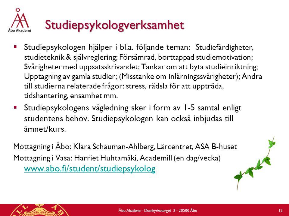 Studiepsykologverksamhet  Studiepsykologen hjälper i bl.a. följande teman: Studiefärdigheter, studieteknik & självreglering; Försämrad, borttappad st