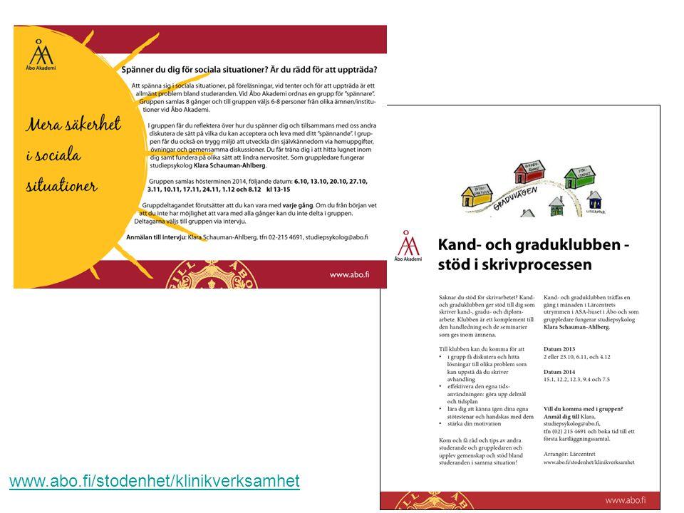 Åbo Akademi - Domkyrkotorget 3 - 20500 Åbo 14 www.abo.fi/stodenhet/klinikverksamhet
