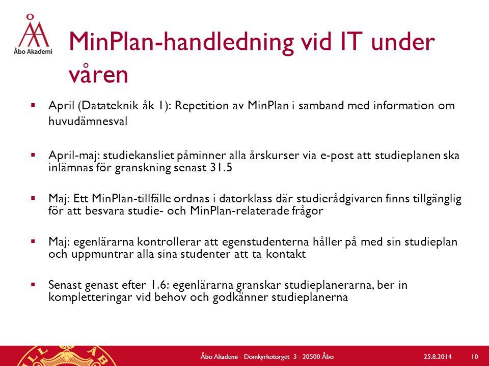 MinPlan-handledning vid IT under våren  April (Datateknik åk 1): Repetition av MinPlan i samband med information om huvudämnesval  April-maj: studie