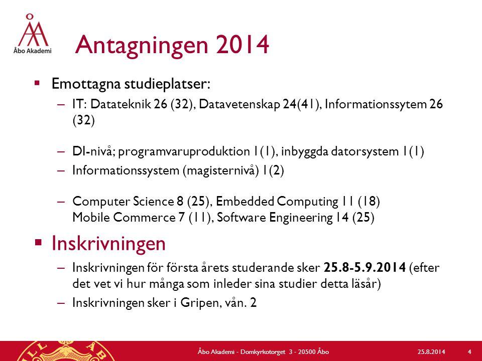 Antagningen 2014  Emottagna studieplatser: – IT: Datateknik 26 (32), Datavetenskap 24(41), Informationssytem 26 (32) – DI-nivå; programvaruproduktion 1(1), inbyggda datorsystem 1(1) – Informationssystem (magisternivå) 1(2) – Computer Science 8 (25), Embedded Computing 11 (18) Mobile Commerce 7 (11), Software Engineering 14 (25)  Inskrivningen – Inskrivningen för första årets studerande sker 25.8-5.9.2014 (efter det vet vi hur många som inleder sina studier detta läsår) – Inskrivningen sker i Gripen, vån.