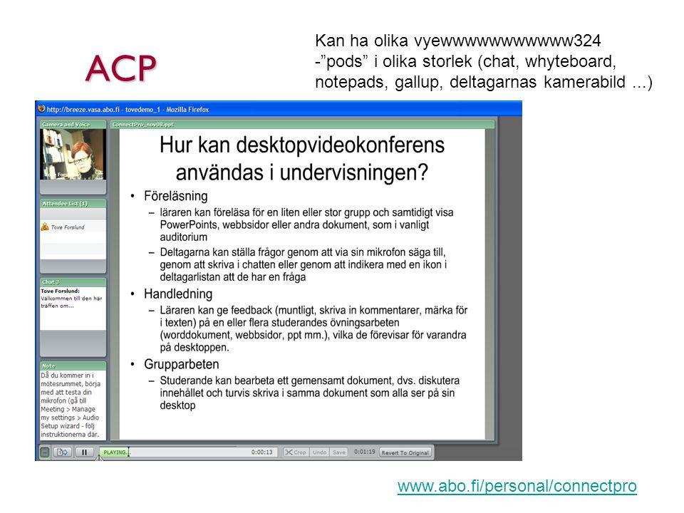 ACP Kan ha olika vyewwwwwwwwwww324 - pods i olika storlek (chat, whyteboard, notepads, gallup, deltagarnas kamerabild...) www.abo.fi/personal/connectpro