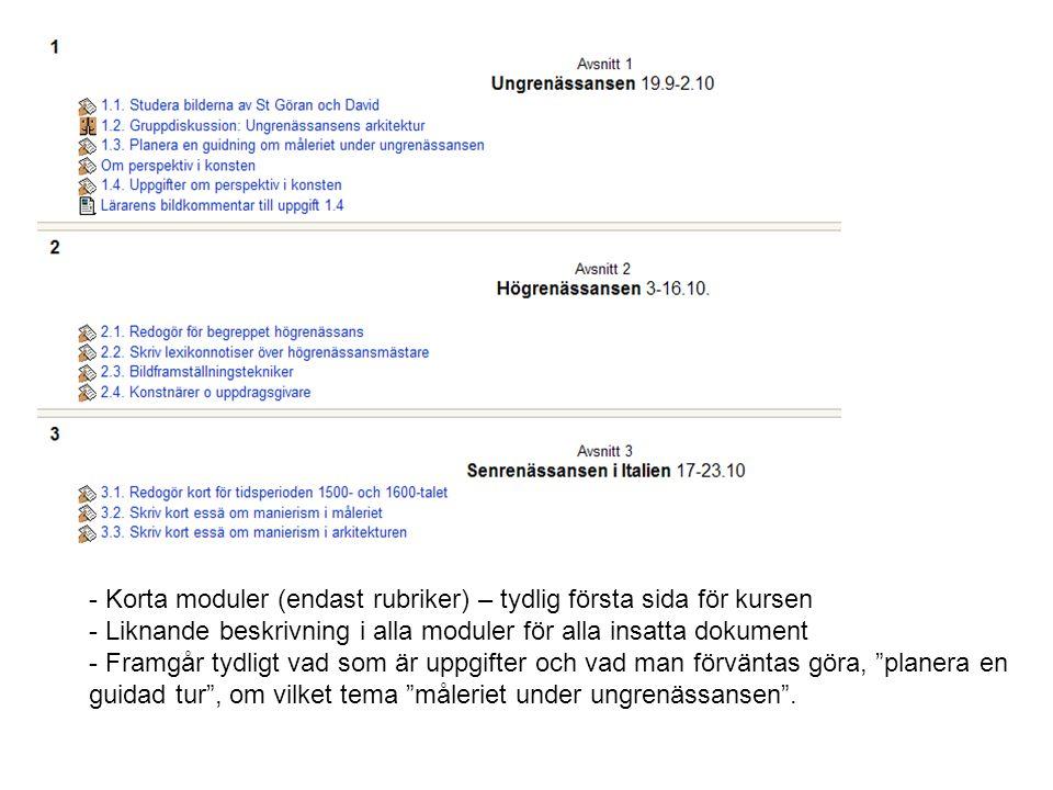 - Korta moduler (endast rubriker) – tydlig första sida för kursen - Liknande beskrivning i alla moduler för alla insatta dokument - Framgår tydligt va