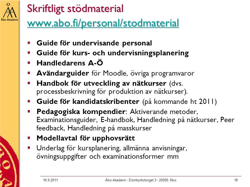 16.9.2011Åbo Akademi - Domkyrkotorget 3 - 20500 Åbo18 Skriftligt stödmaterial www.abo.fi/personal/stodmaterial www.abo.fi/personal/stodmaterial  Guid