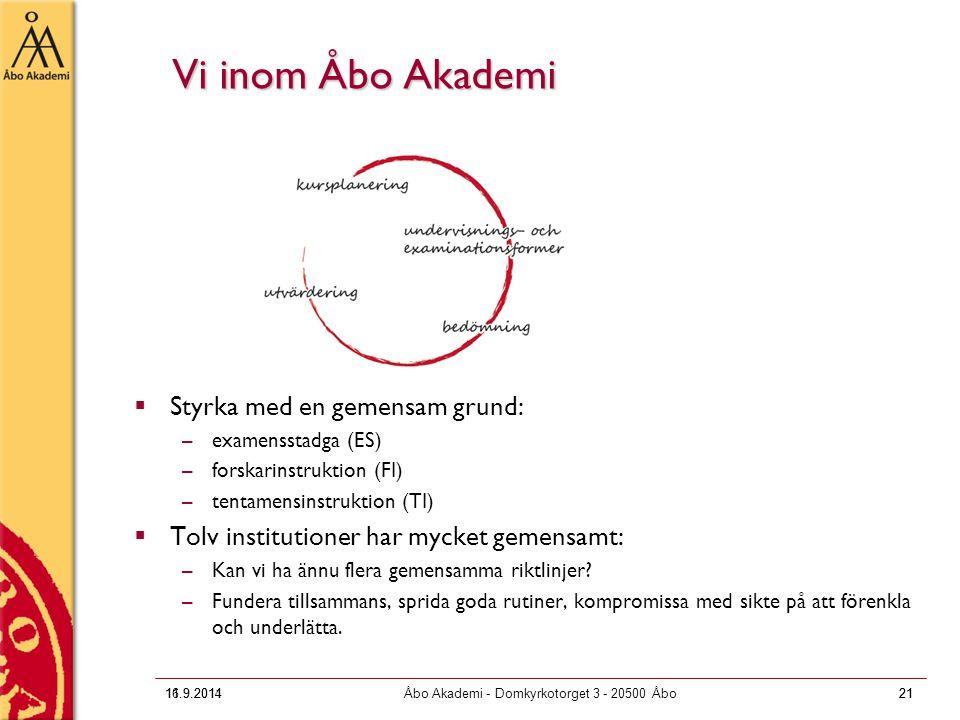 16.9.2011Åbo Akademi - Domkyrkotorget 3 - 20500 Åbo21 Vi inom Åbo Akademi  Styrka med en gemensam grund: –examensstadga (ES) –forskarinstruktion (FI)