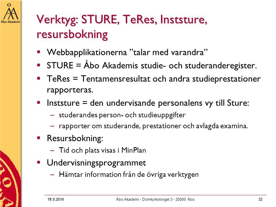 "16.9.2011Åbo Akademi - Domkyrkotorget 3 - 20500 Åbo32 Verktyg: STURE, TeRes, Inststure, resursbokning  Webbapplikationerna ""talar med varandra""  STU"