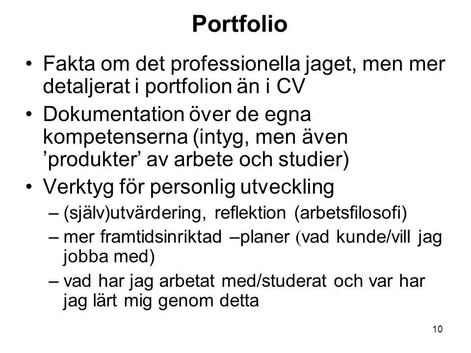 10 Portfolio Fakta om det professionella jaget, men mer detaljerat i portfolion än i CV Dokumentation över de egna kompetenserna (intyg, men även 'pro