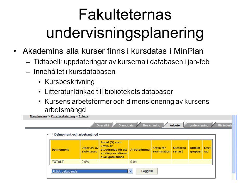 16 Fakulteternas undervisningsplanering Akademins alla kurser finns i kursdatas i MinPlan –Tidtabell: uppdateringar av kurserna i databasen i jan-feb