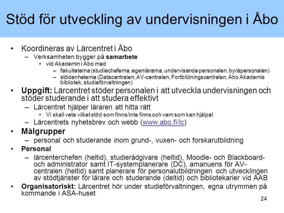 24 Stöd för utveckling av undervisningen i Åbo Koordineras av Lärcentret i Åbo samarbete –Verksamheten bygger på samarbete vid Akademin i Åbo med –fak