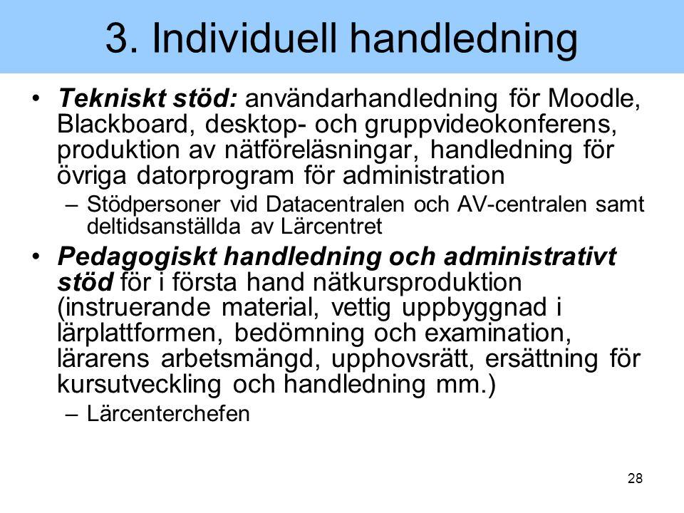 28 3. Individuell handledning Tekniskt stöd: användarhandledning för Moodle, Blackboard, desktop- och gruppvideokonferens, produktion av nätföreläsnin