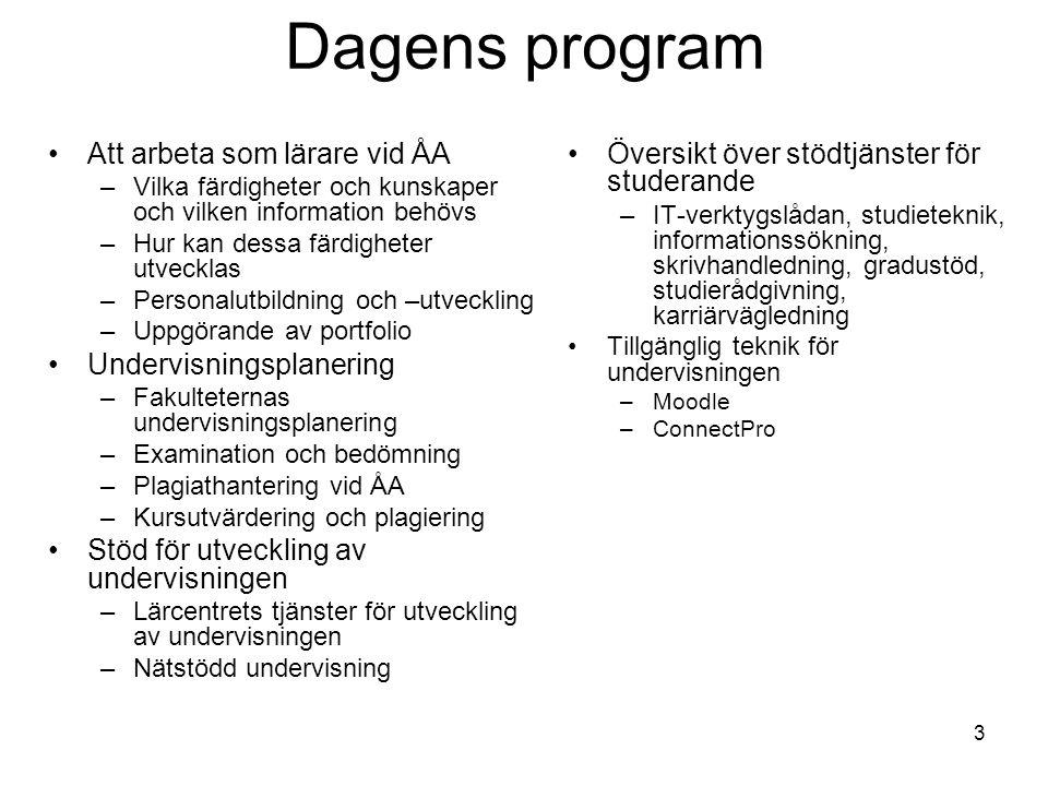 3 Dagens program Att arbeta som lärare vid ÅA –Vilka färdigheter och kunskaper och vilken information behövs –Hur kan dessa färdigheter utvecklas –Per