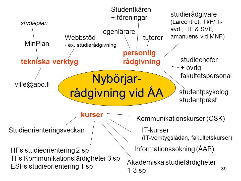 39 Nybörjar- rådgivning vid ÅA personlig rådgivning egenlärare tutorer studierådgivare (Lärcentret, TkF/IT- avd., HF & SVF, amanuens vid MNF) studiech