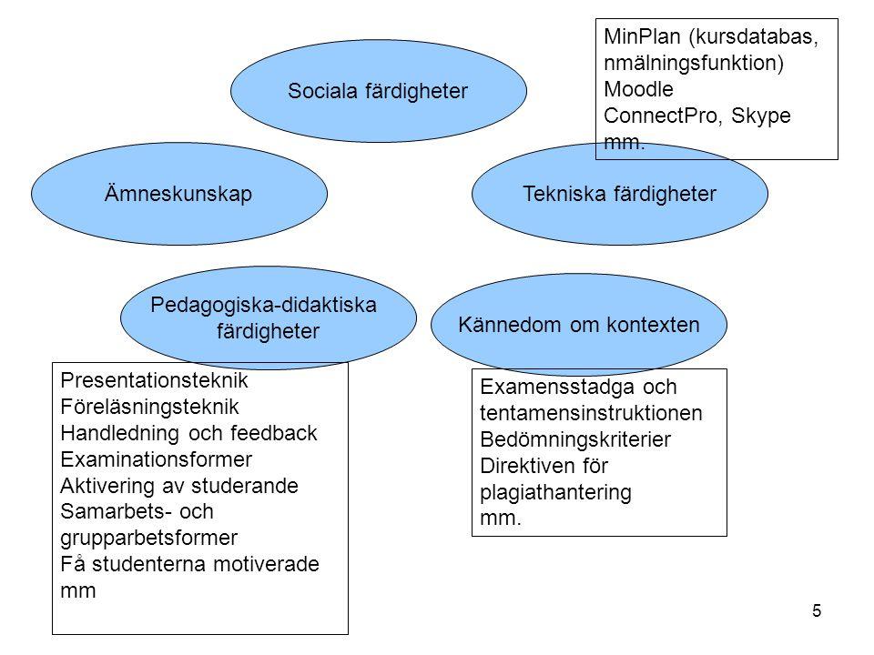 5 Ämneskunskap Pedagogiska-didaktiska färdigheter Kännedom om kontexten Sociala färdigheter Examensstadga och tentamensinstruktionen Bedömningskriteri