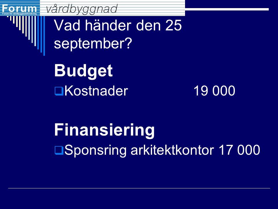 Vad händer den 25 september? Budget  Kostnader19 000 Finansiering  Sponsring arkitektkontor 17 000
