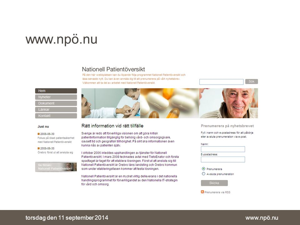 www.npö.nutorsdag den 11 september 2014 www.npö.nu