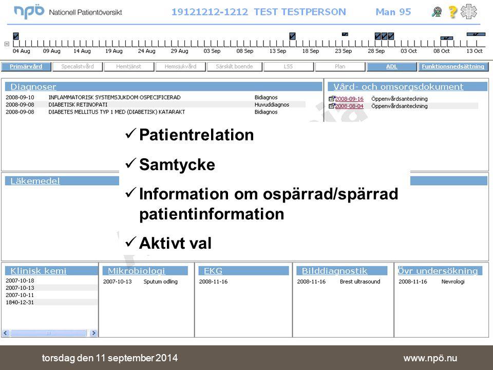 www.npö.nutorsdag den 11 september 2014 Patientrelation Samtycke Information om ospärrad/spärrad patientinformation Aktivt val