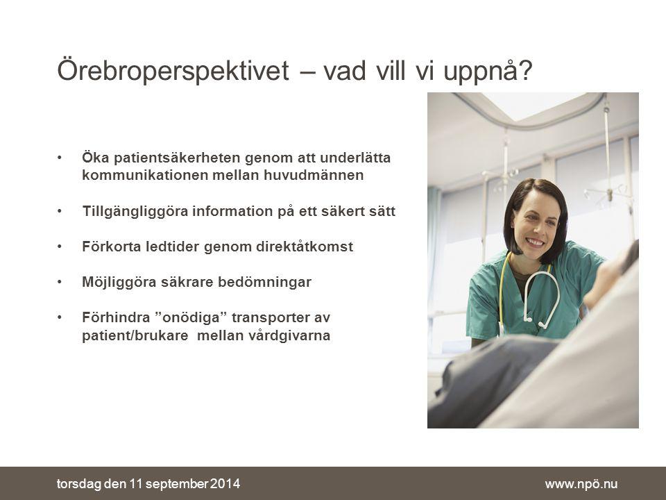 www.npö.nutorsdag den 11 september 2014 Örebroperspektivet – vad vill vi uppnå.