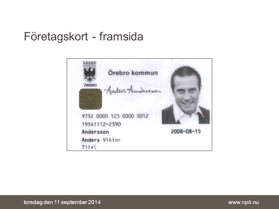 www.npö.nutorsdag den 11 september 2014 Företagskort - framsida