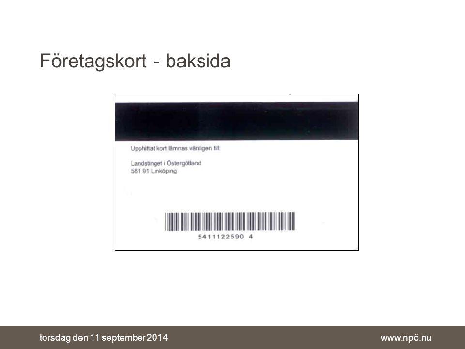 www.npö.nutorsdag den 11 september 2014 Företagskort - baksida