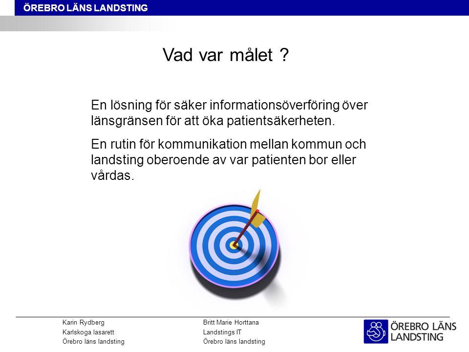 www.npö.nutorsdag den 11 september 2014 Karin RydbergBritt Marie Horttana Karlskoga lasarettLandstings ITÖrebro läns landsting ÖREBRO LÄNS LANDSTING Vad var målet .