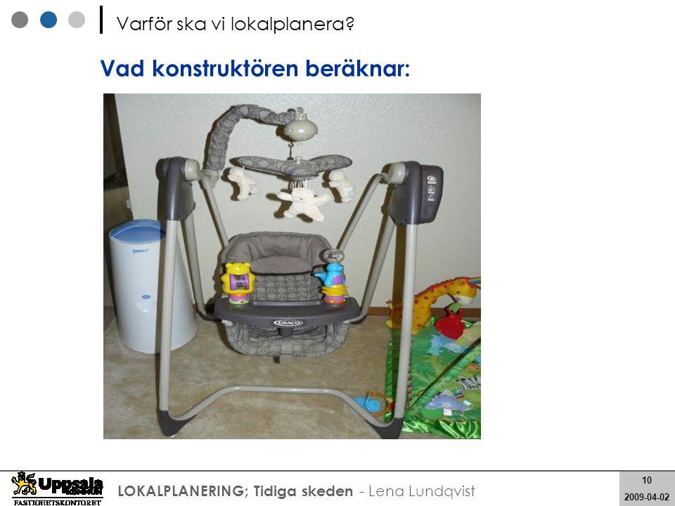 10 2008-05-21 10 2009-04-02 LOKALPLANERING; Tidiga skeden - Lena Lundqvist Vad konstruktören beräknar: Varför ska vi lokalplanera?