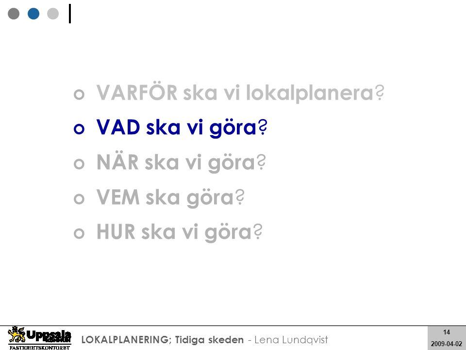 14 2008-05-21 14 2009-04-02 LOKALPLANERING; Tidiga skeden - Lena Lundqvist VARFÖR ska vi lokalplanera ? VAD ska vi göra ? NÄR ska vi göra ? VEM ska gö