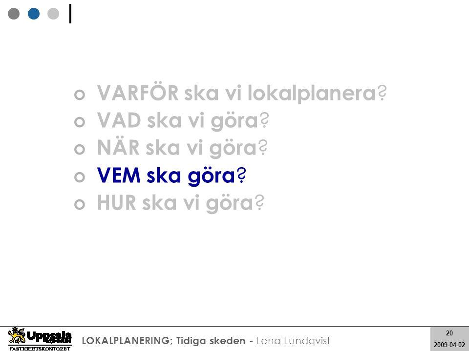 20 2008-05-21 20 2009-04-02 LOKALPLANERING; Tidiga skeden - Lena Lundqvist VARFÖR ska vi lokalplanera ? VAD ska vi göra ? NÄR ska vi göra ? VEM ska gö