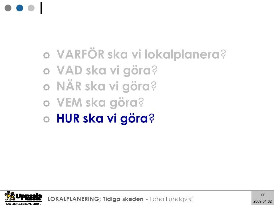 22 2008-05-21 22 2009-04-02 LOKALPLANERING; Tidiga skeden - Lena Lundqvist VARFÖR ska vi lokalplanera ? VAD ska vi göra ? NÄR ska vi göra ? VEM ska gö