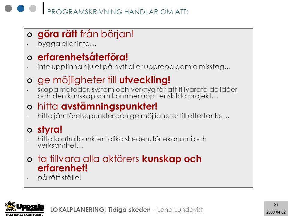 23 2008-05-21 23 2009-04-02 LOKALPLANERING; Tidiga skeden - Lena Lundqvist PROGRAMSKRIVNING HANDLAR OM ATT: göra rätt från början! - bygga eller inte…