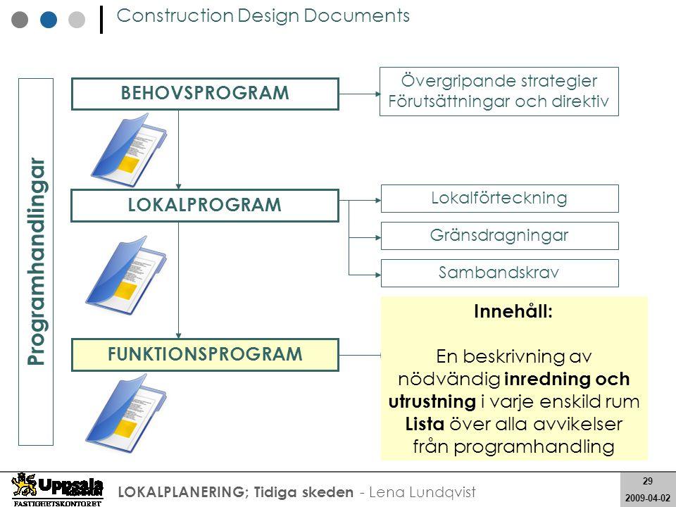 29 2008-05-21 29 2009-04-02 LOKALPLANERING; Tidiga skeden - Lena Lundqvist Construction Design Documents Lokalförteckning Gränsdragningar Sambandskrav