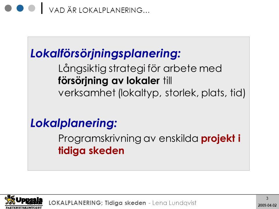 4 2008-05-21 4 2009-04-02 LOKALPLANERING; Tidiga skeden - Lena Lundqvist Strategisk Lokalförsörjningsplanering LOKALPLANERING; Programskrivning av projekt ; Programhandling FÖRHÅLLANDE: Lokalförsörjning - Lokalplanering Att på kort och lång sikt ha en balans mellan tillgång och efterfrågan på lokaler – dvs veta var, när och hur