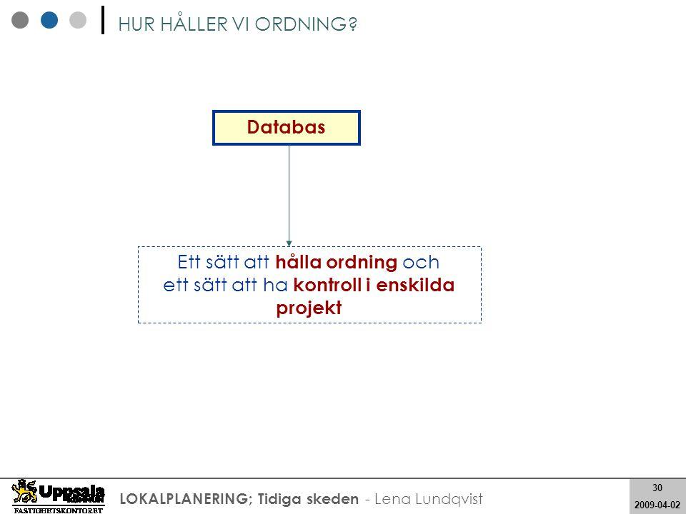 30 2008-05-21 30 2009-04-02 LOKALPLANERING; Tidiga skeden - Lena Lundqvist Databas HUR HÅLLER VI ORDNING? Ett sätt att hålla ordning och ett sätt att