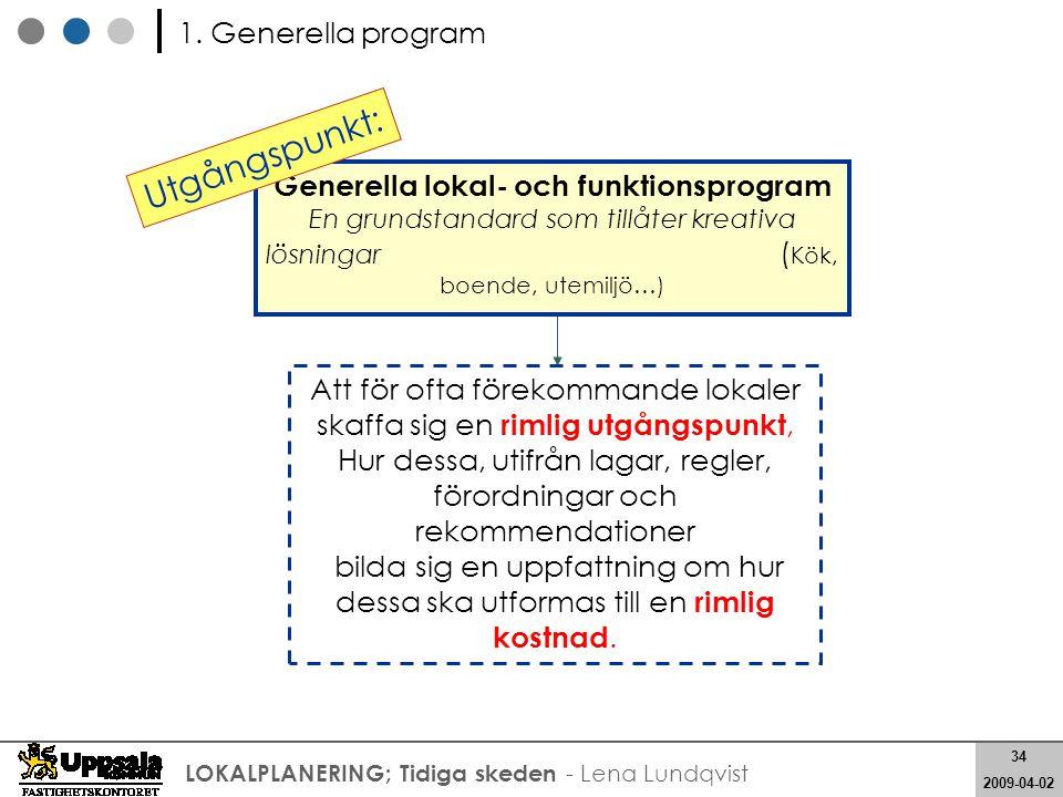 34 2008-05-21 34 2009-04-02 LOKALPLANERING; Tidiga skeden - Lena Lundqvist Generella lokal- och funktionsprogram En grundstandard som tillåter kreativ
