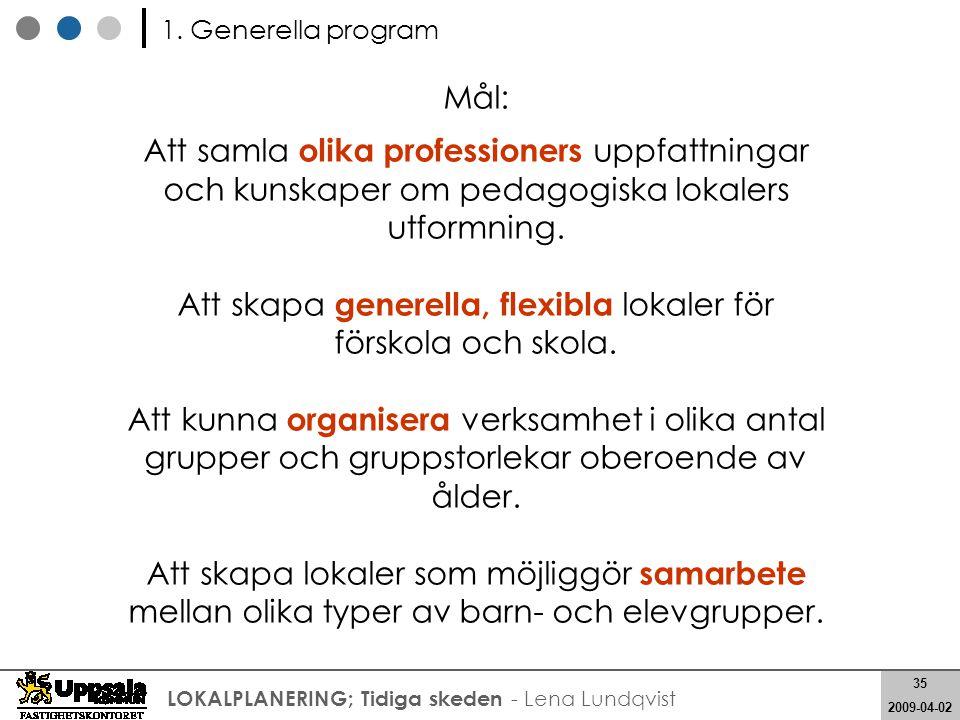 35 2008-05-21 35 2009-04-02 LOKALPLANERING; Tidiga skeden - Lena Lundqvist Mål: Att samla olika professioners uppfattningar och kunskaper om pedagogis