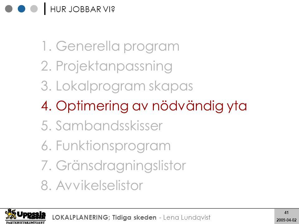 41 2008-05-21 41 2009-04-02 LOKALPLANERING; Tidiga skeden - Lena Lundqvist 1. Generella program 2. Projektanpassning 3. Lokalprogram skapas 4. Optimer