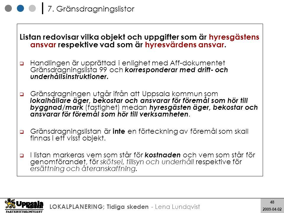 48 2008-05-21 48 2009-04-02 LOKALPLANERING; Tidiga skeden - Lena Lundqvist Listan redovisar vilka objekt och uppgifter som är hyresgästens ansvar resp